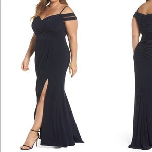 Xscape off the shoulder navy gown